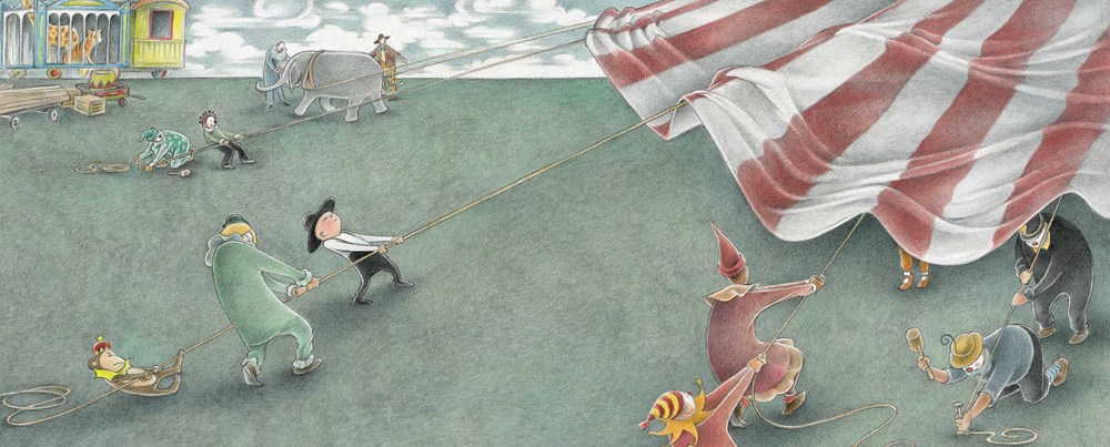 An interior image from The Farmer and the Circus, by Marla Frazee, showing a small child and a monkey helping circus workers to put up a striped tent.