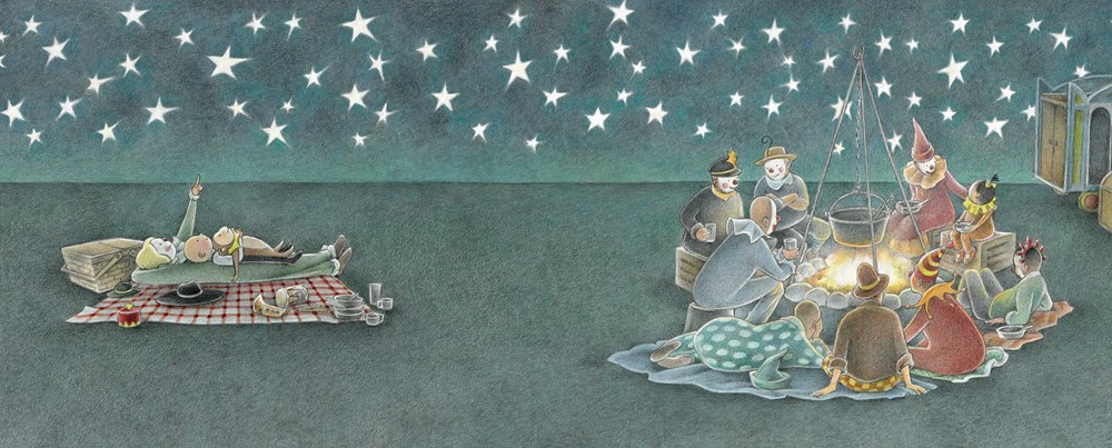 An interior image from The Farmer and the Circus, by Marla Frazee, showing the child and a monkey gazing at stars with circus workers, who are cooking over an outdoor fire.