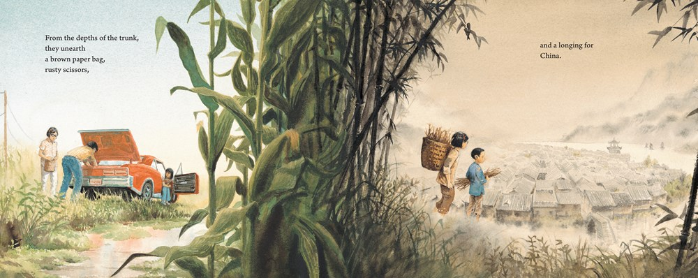 An interior spread from Watercress, written by Andrea Wang and illustrated by Jason chin, showing a family by the side of an Ohio road on the left and a family walking in a field in China on the right.