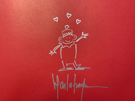 The endpapers of The Farmer and the Circus, signed by the author and illustrator, Marla Frazee.