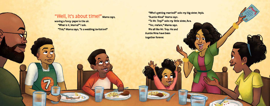An interior image from The Electric Slide and Kai, written by Kelly J. Baptist and illustrated by Darnell Johnson, showing a Black family sitting around the table celebrating good news.