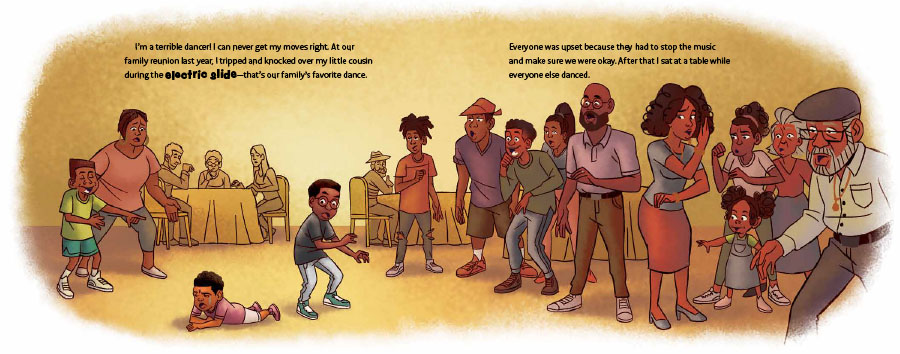 An interior image from The Electric Slide and Kai, written by Kelly J. Baptist and illustrated by Darnell Johnson, showing young Kai struggling to learn how to do The Electric Slide.