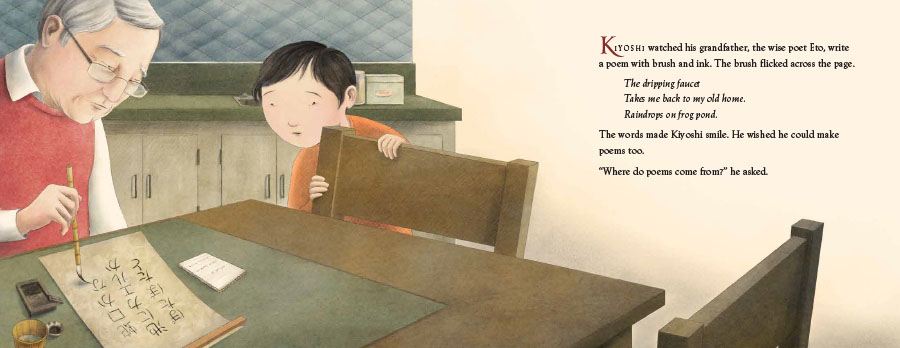 An interior image from Kiyoshi's Walk, written by Mark Karlins and illustrated by Nicole Wong, showing young Kiyoshi watching his grandfather, Eto, write a poem with brush and ink.
