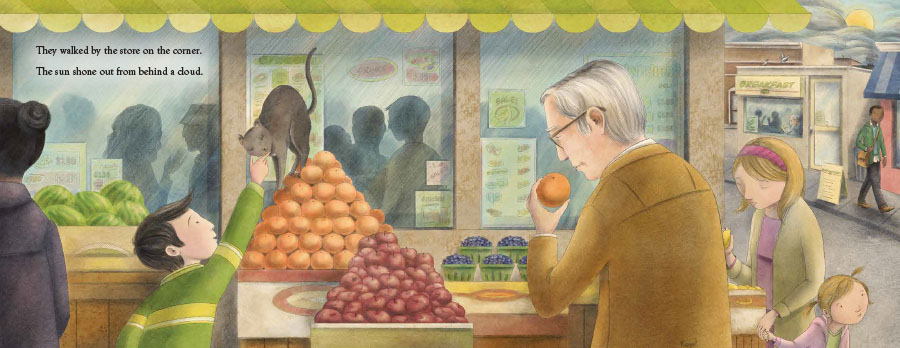An interior image from Kiyoshi's Walk, written by Mark Karlins and illustrated by Nicole Wong, showing young Kiyoshi and his grandfather, Eto, stopping to enjoy a city fruit market.