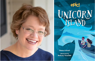 Author Donna Galanti and the cover of Unicorn Island.