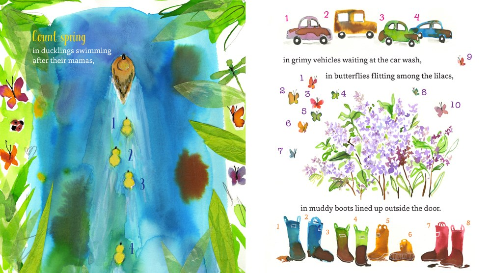 An interior spread from Happy Springtime!, written by Kate McMullan and illustrated by Sujean Rim, showing ducks and ducklings in the water and then springtime sights: muddy cars, spring flowers, and muddy boots.