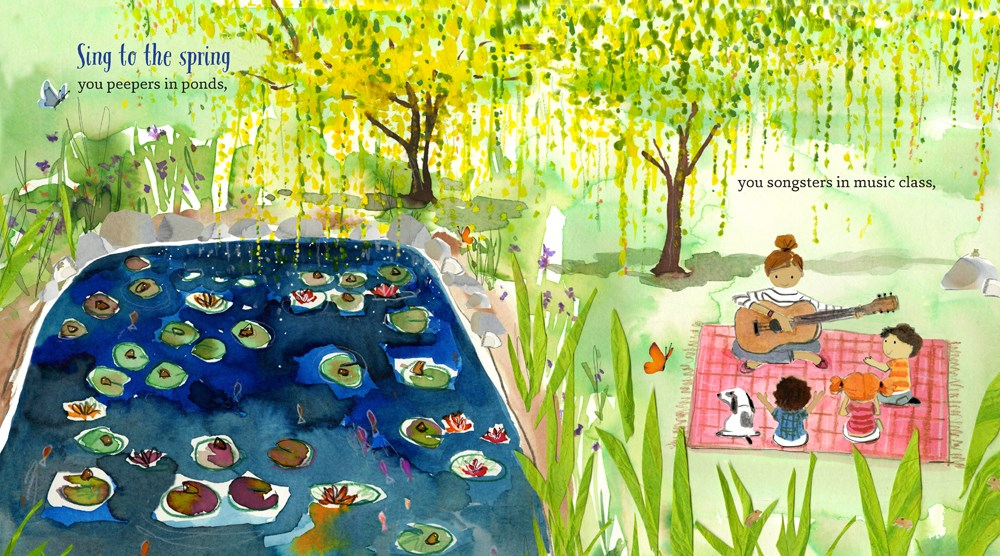 An interior spread from Happy Springtime!, written by Kate McMullan and illustrated by Sujean Rim, showing a pond filled with ducks and lilypads and, next to it, a woman playing guitar on a blanket, surrounded by three children and a dog.
