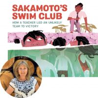 Julie Abery and the cover of Sakamoto's Swim Club