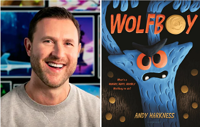 Author and illustrator Andy Harkness and the cover of Wolfboy.