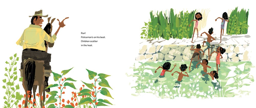 An interior image from Sakamoto's Swim Club, written by Julie Abery and illustrated by Chris Sasaki, featuring a policeman on horseback telling kids who are swimming in irrigation ditches to leave.