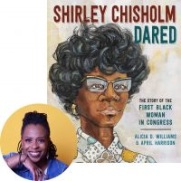 Alicia Williams and the cover of Shirley Chisholm
