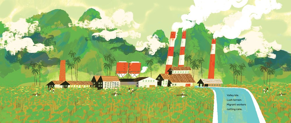 An interior image from Sakamoto's Swim Club, written by Julie Abery and illustrated by Chris Sasaki, featuring a sugar plant in Maui, viewed from a distance at the base of mountains.
