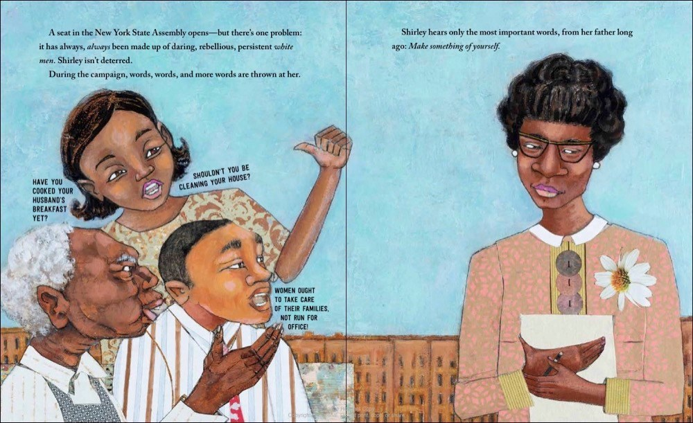 An interior image from Shirley Chisholm Dared, written by Alicia D. Williams and illustrated by April Harrison, showing Shirley Chisholm as a grown woman listening to neighbors doubt her for trying to get elected to teh New York State Assembly.