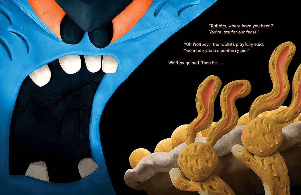 An interior image from Wolfboy, written and illustrated by Andy Harkness, showing Wolfboy growling ferociously while rabbits offer him a piece of moonberry pie.