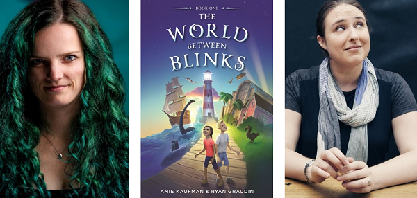The cover of The World Between Blinks with the two authors: Ryan Graudin and Amie Kaufman.