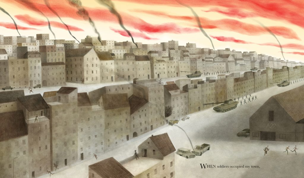 An interior image from What the Kite Saw, written by Anne Laurel Carter and illustrated by Akin Duzakin, showing a gray, smoking city under a flaming sky, with tanks and soldiers on the streets.