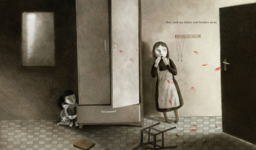 An interior image from What the Kite Saw, written by Anne Laurel Carter and illustrated by Akin Duzakin, showing frightened children inside a dark apartment.