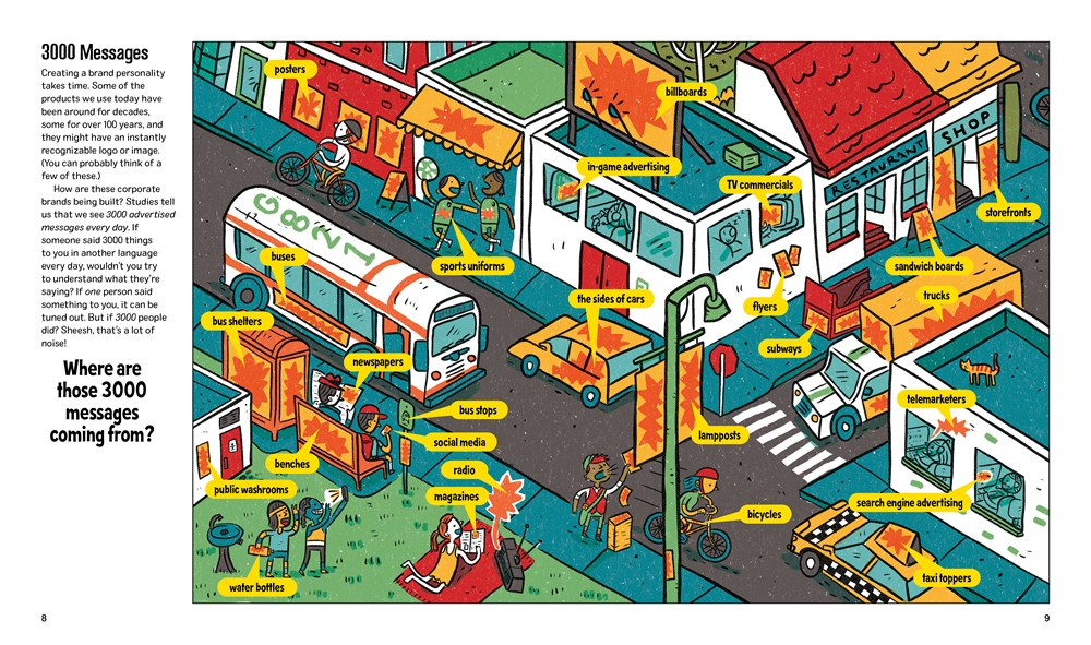 An interior image from Mad for Ads, written by Erica Fyvie and illustrated by Ian Turner, showing a busy city intersection labeled with all the spots that ads might appear, from storefronts to lamposts to the sides of trucks.