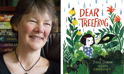 Joyce Sidman and the cover of Dear Treefrog