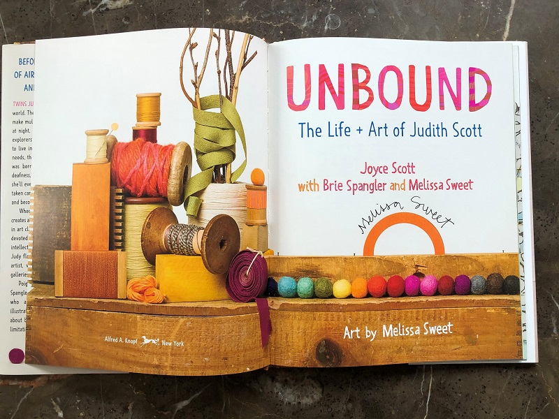 The title page of Unbound signed by co-author and illustrator Melissa Sweet.