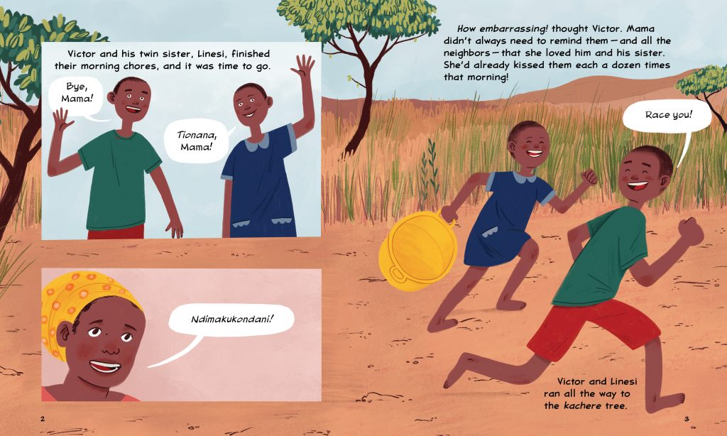 An interior image of Walking For Water, written by Susan Hughes and illustrated by Nicole Miles, showing several scenes of Victor and his sister Lenesi running down a path in their village in Malawi.