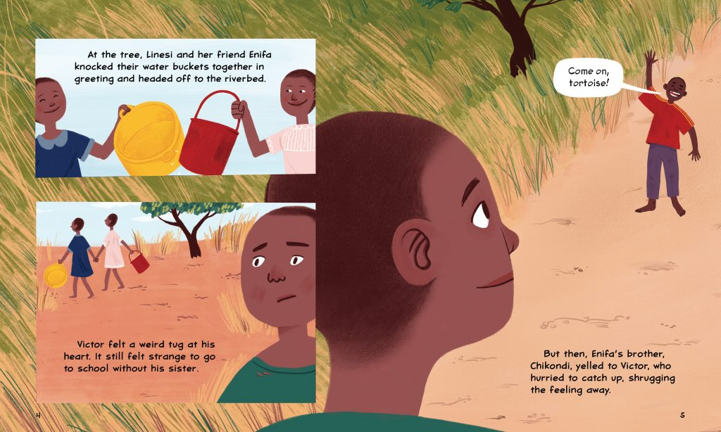An interior image of Walking For Water, written by Susan Hughes and illustrated by Nicole Miles, showing Victor parting with his sister, who has to fetch water while he attends school.