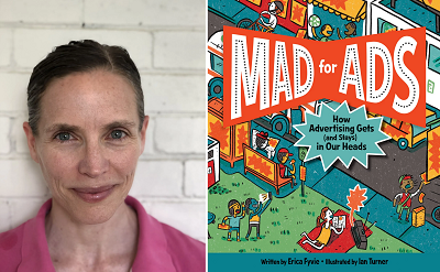 Erica Fyvie and the cover of Mad for Ads