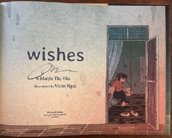 The title page of Wishes, signed by the author, Mượn Thị Văn.