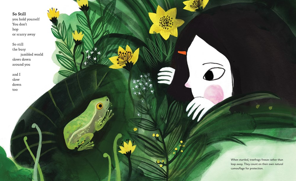 An interior image from Dear Treefrog, by Joyce Sidman and illustrated by Diana Sudyka, showing a girl and a treefrog eyeing each other in a lush garden.