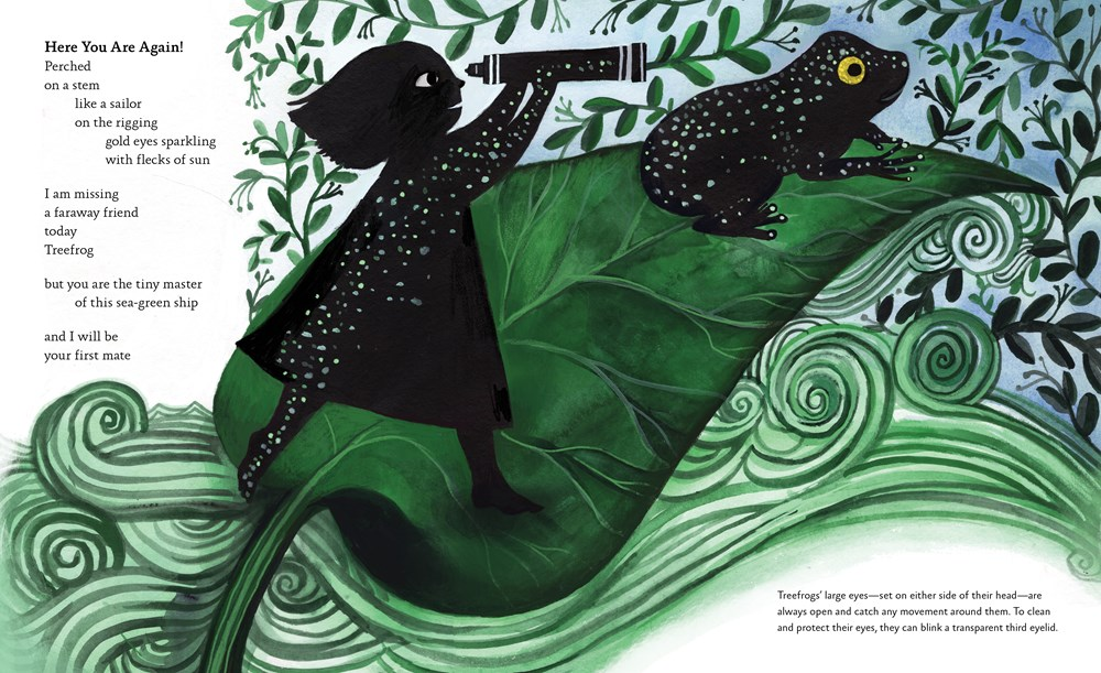 """An interior image from Dear Treefrog, by Joyce Sidman and illustrated by Diana Sudyka, showing a girl with a telescope and a treefrog in patterned sillhouette next to the words, """"You are the tiny master of this sea-green ship / and I will be / your first mate."""""""