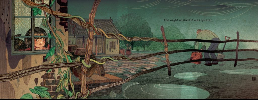 An interior image from Wishes, by Mượn Thị Văn and illustrated by Victo Ngai, showing a girl looking out at the window into her Vietnamese village on a rainy night while a man burries objects.