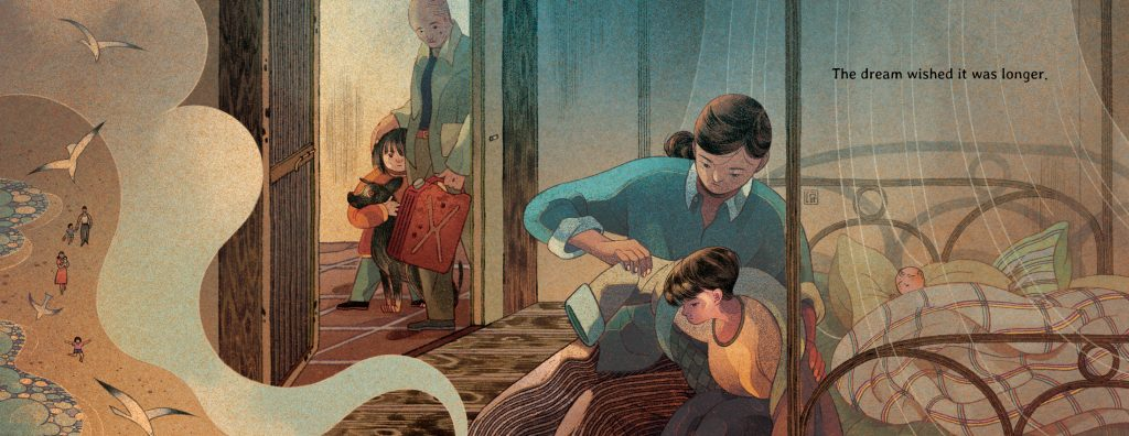 An interior image from Wishes, by Mượn Thị Văn and illustrated by Victo Ngai, showing a girl and her family inside preparing for a long journey.
