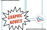 """Image with blue graphic novel panels and pop out text that says """"What to do with Graphic Novels on TeachingBooks"""""""