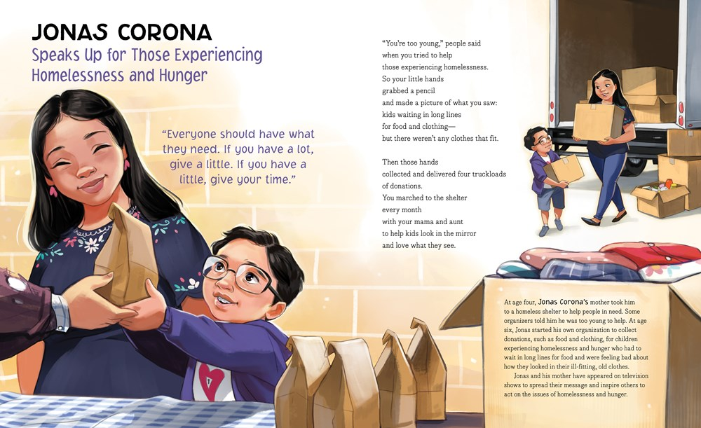 """An interior image from Right Now, written by Miranda Paul and illustrated by Bea Jackson, showing young activist Jonas Corona, who """"speaks up for those experiencing homelessness and hunger."""""""