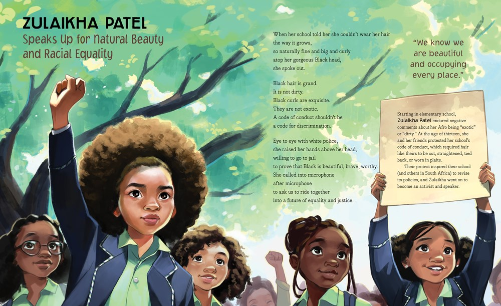 """An interior image from Right Now, written by Miranda Paul and illustrated by Bea Jackson, showing young activist Zulaikaha Patel, who """"speaks up for natural beauty and racial equality."""""""