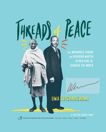 The title page of Threads of Peace signed by the author, Uma Krishnaswami