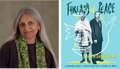Uma Krishnaswami and the cover of Threads of Peace