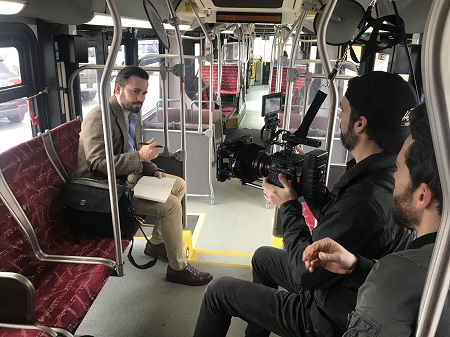Jeff Zentner on a Nashville city bus, where he used to write his books during his commute.