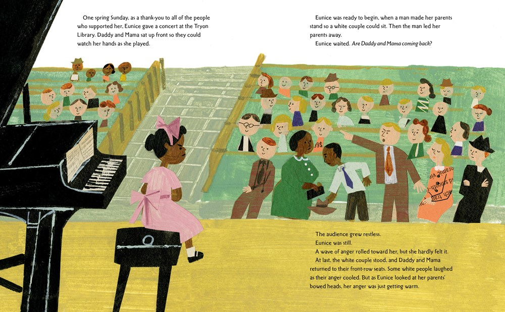 An interior image from Nina: A Story of Nina Simone, written by Traci Todd and illustrated  by Christian Robinson, showing young Nina at the piano during a recital and her family, in the front row, being told to move to the back by a white family.