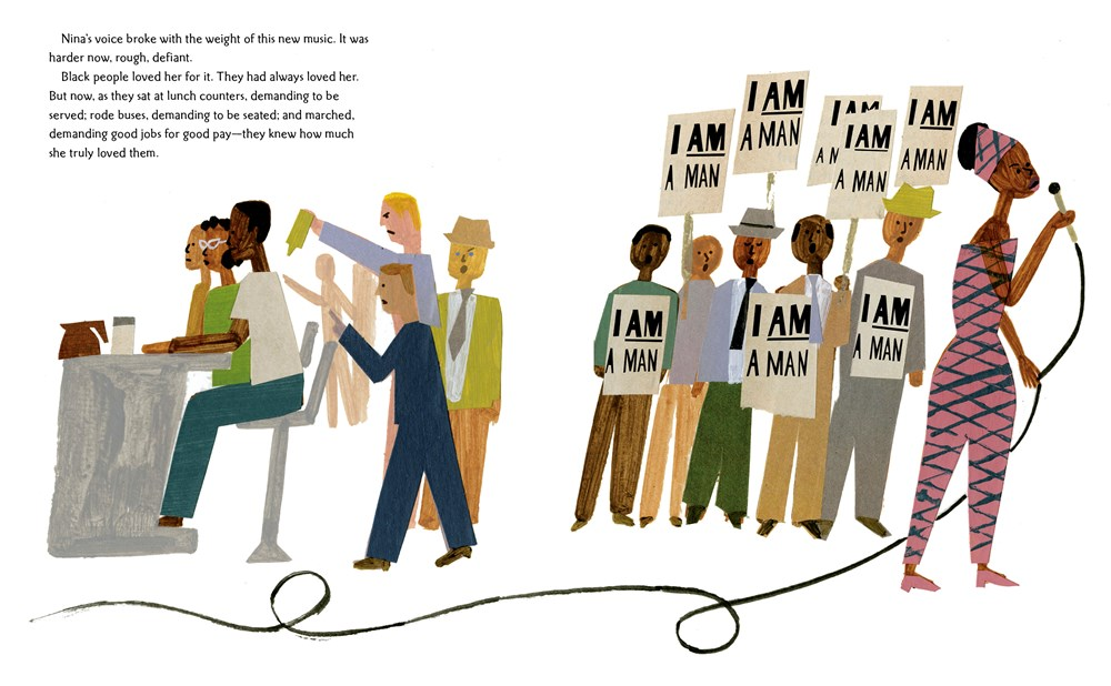 An interior image from Nina: A Story of Nina Simone, written by Traci Todd and illustrated  by Christian Robinson, showing Nina Simone as an adult singing at protests and sit-ins.