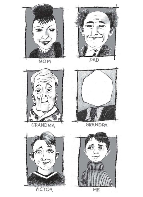 Interior image from Genius Under the Table, by Eugene Yelchin, showing ink portraits of the author's family.